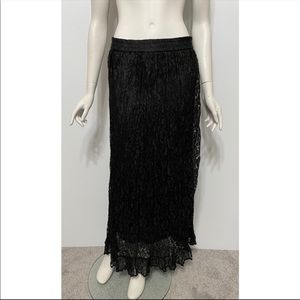 Chico's Design Long Black Lace Maxi Skirt